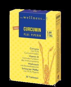 Produktverpackung von Curcumin Tabletten