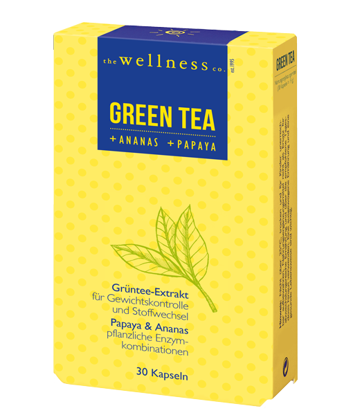 Produktverpackung von Green Tea Kapseln mit Ananas und Papaya