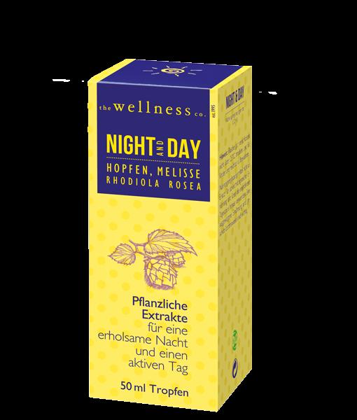 Produktverpackung von Night and Day Tropfen mit Pflanzenextrakten