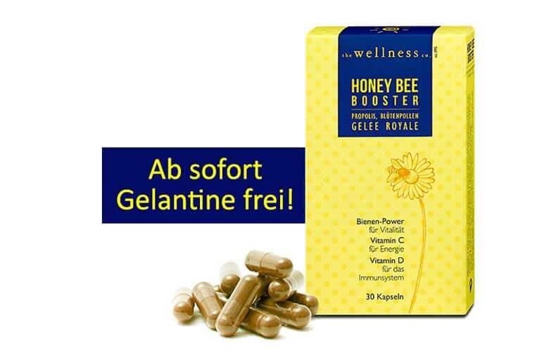 Produktverpackung von Honey Bee Booster Kapseln mit Propolis-Extrakt - ohne Gelantine!